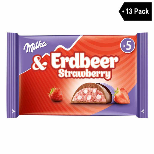 13 Pack Milka Erdbeer Strawberry with Cream Filling Riegel