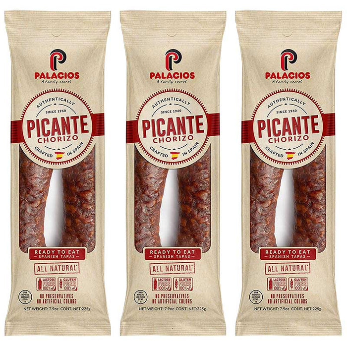 3-Pack Palacios Hot Spanish Ready-to-eat Picante Chorizo (7.9 oz. x 3)