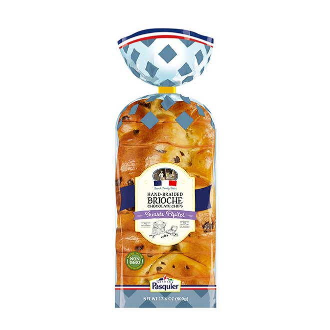 Chocolate Chip Brioche Bread by France's #1 Brioche Brand Brioche Pasquier 17.6 oz. (500g)