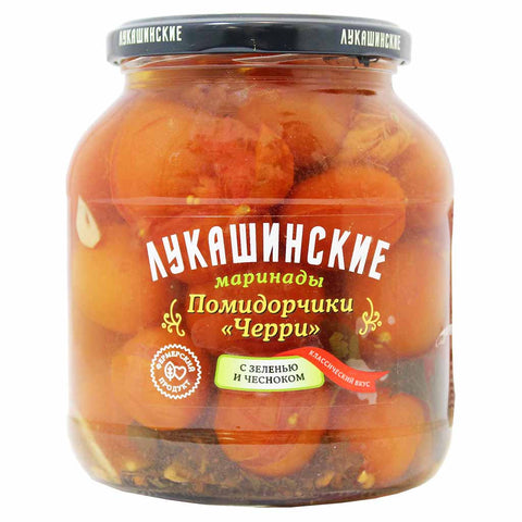 Lukashinskie Pickled Cherry Tomatoes with Greens and Garlic 23.6 oz. (670g)