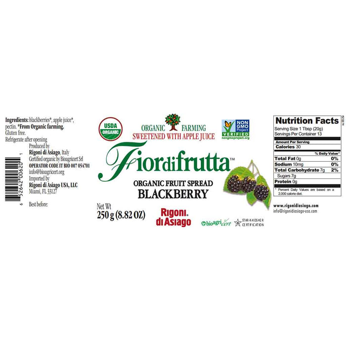 Rigoni di Asiago Fiordifrutta Organic Fruit Spread Blackberry 8.8 oz. (250g)