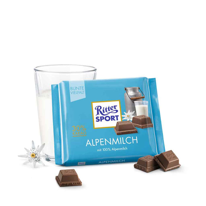 Ritter Sport 30% Alpine Milk Chocolate, 3.5 oz (100 g)