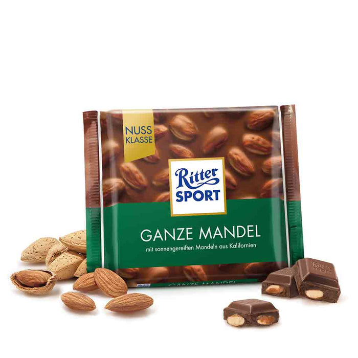 Ritter Sport Milk Chocolate with Whole Almonds, 3.5 oz (100 g)