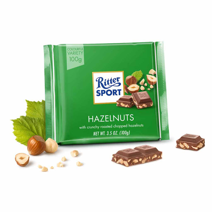 Ritter Sport Milk Chocolate with Hazelnut Pieces, 3.5 oz (100 g)