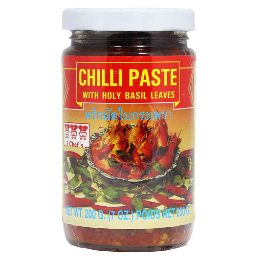 3 Chef's Chilli Paste with Holy Basil Leaves 7 oz