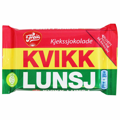 Freia Kvikk Lunsj Milk Chocolate Bar with Biscuit 1.6 oz. (47g)