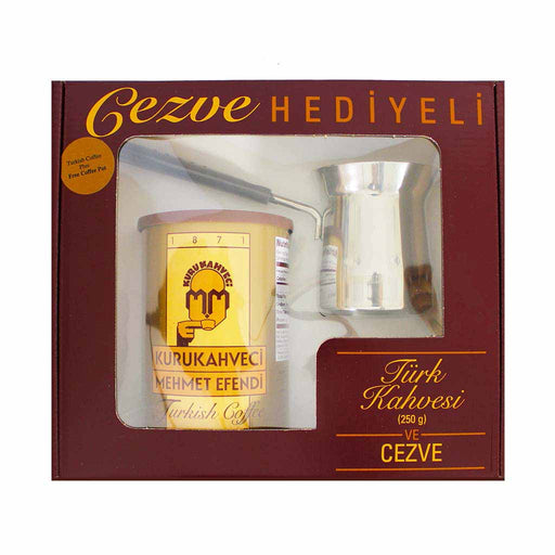 Kurukahveci Mehmet Efendi Turkish Coffee and Cezve Gift 8.8 oz. (250g)
