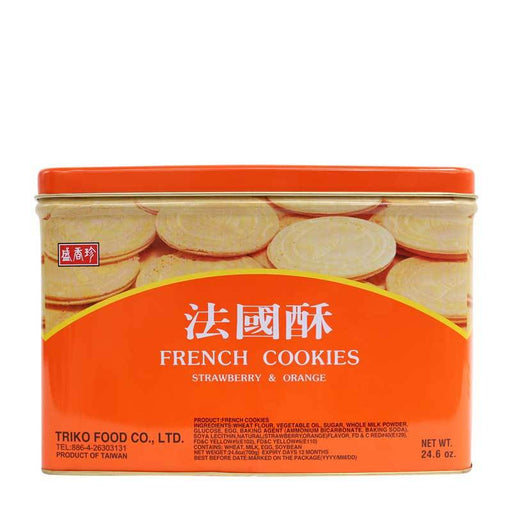 Taiwanese French Cookies Wafer Sandwich Cookies with Strawberry and Orange Cream, 24.6 oz. (700g)