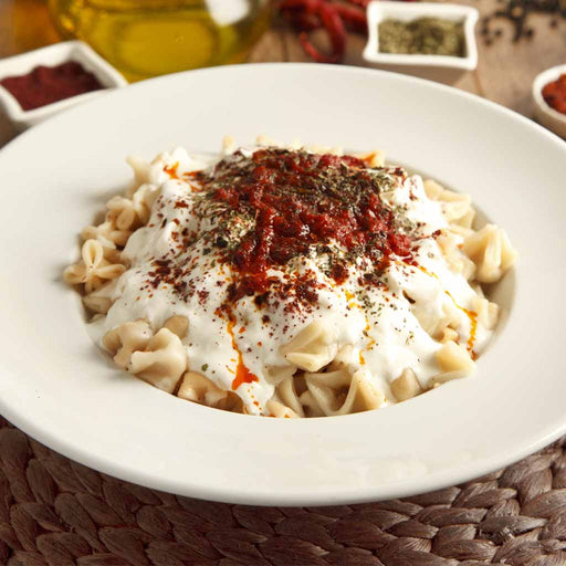 Turkish Manti with Yogurt and Chili Sauce (Serves 4)