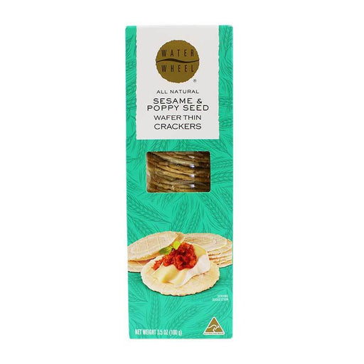 Waterwheel Sesame & Poppy Seed Wafer Thin Crackers, 3.5 oz (100 g)