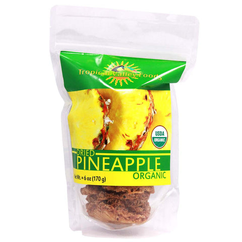 Organic Dried Pineapple by Tropical Valley Foods 6 oz