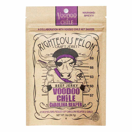Righteous Felon Jerky, Voodoo Chile Carolina Reaper, 2 oz