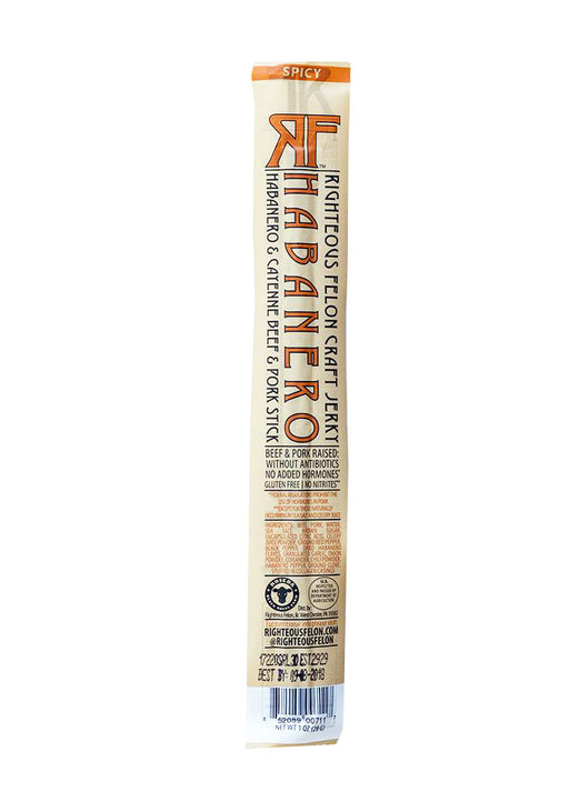 Righteous Felon - Habanero Spiced Beef & Pork Stick, 1 oz.