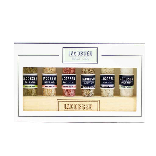 Jacobsen Salt Co Salt Sampler with Wooden Holder 6 Pcs x 0.2 oz