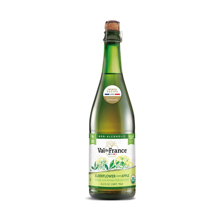 Val de France Organic Apple Elderflower Sparkling Juice, 25.4 fl oz (750 ml)