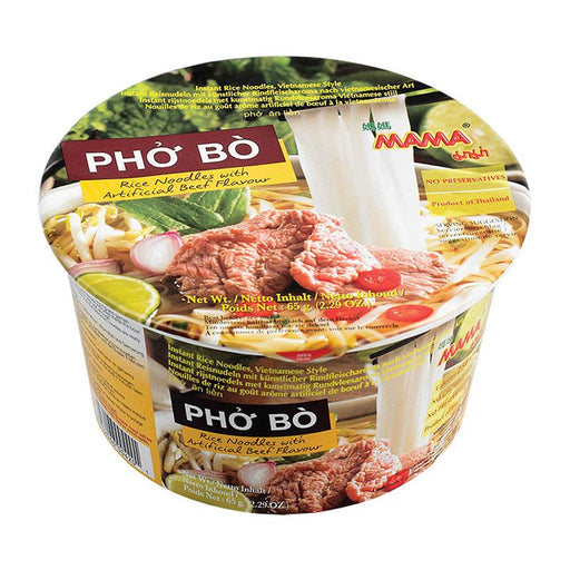 Mama Instant Noodles, Pho Bo Beef Soup Vietnamese Style Rice Noodle, 2.3 oz. (65g)