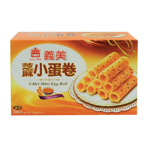 I Mei Mini Egg Roll Butter Cookies, Sesame, 4 oz (114g)