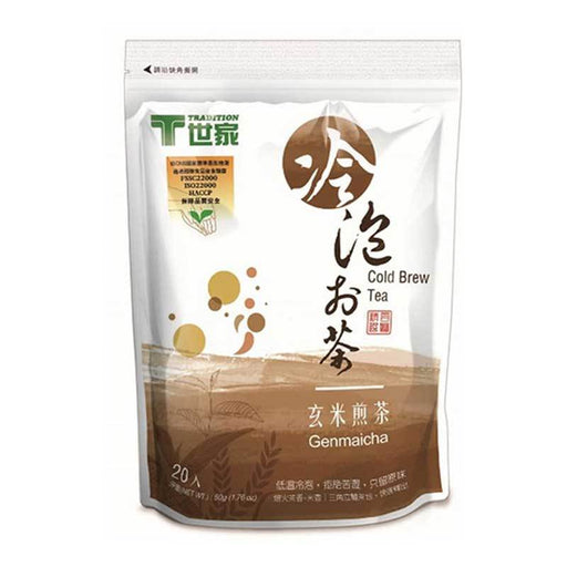 Tradition Genmai Tea, Green Tea with Roasted Rice Ideal for Cold Brewing, 20 Tea Bags x 2.5g