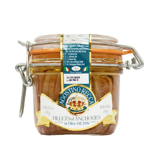 Agostino Recca Anchovies Fillets in Olive Oil, 8.11 oz (230 g)