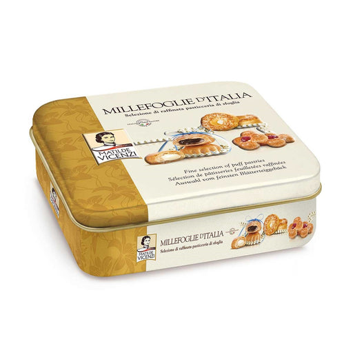 Matilde Vicenzi Assorted Millefoglie Pastries in Luxury Tin, 8.5 oz (240 g)