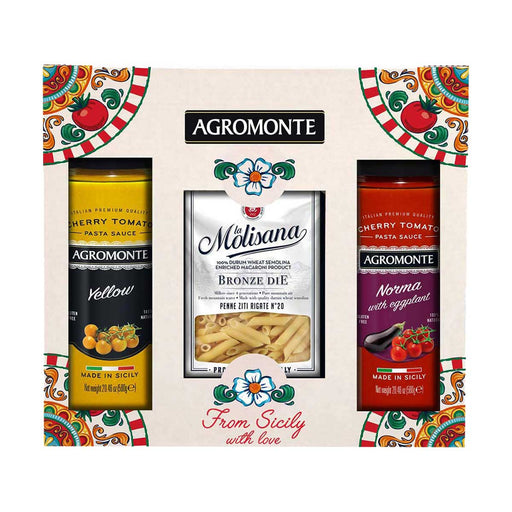 Agromonte Norma Eggplant and Yellow Cherry Tomato Sauce with Bronze Die Pasta Gift, 3.5 lb (1.6 kg)