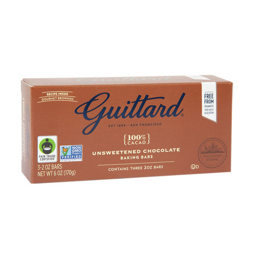 Guittard Unsweetened Chocolate Baking Bars, 6 oz (170 g)