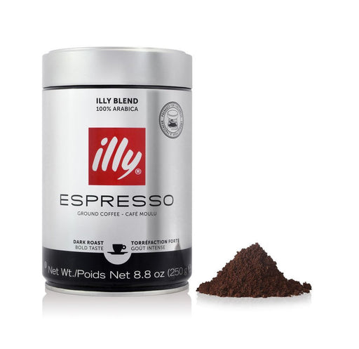 illy Dark Roast Ground Espresso Coffee, 8.8 oz (250 g)