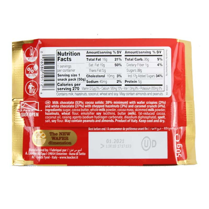 Loacker Chocolate Duo Hazelnut and Caramel Wafer Crispy Chocolate, 1.76 oz (50g)
