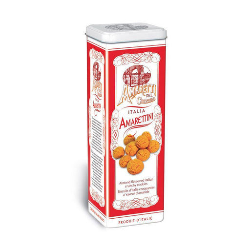 Chiostro di Saronno Mini Crunchy Amaretti Cookies in Tower Tin, 7.9 oz (225 g)