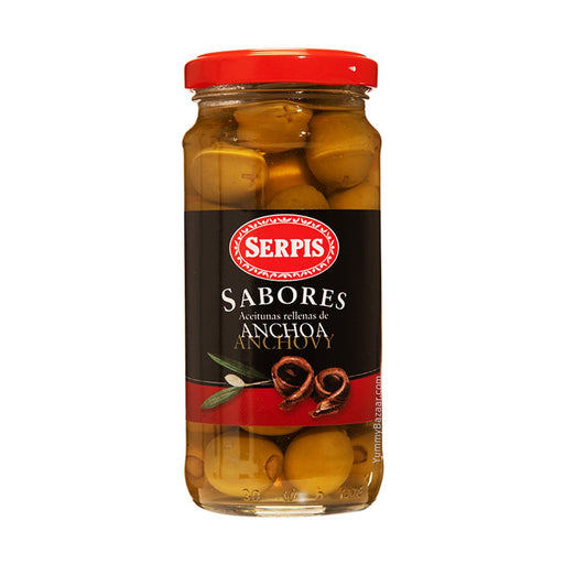 Serpis Green Spanish Olives Stuffed with Anchovies, 8.3 oz (235 g)