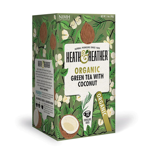 Heath & Heather Organic Green Tea with Coconut 20 Tea Bags, 1.4 oz (40 g)