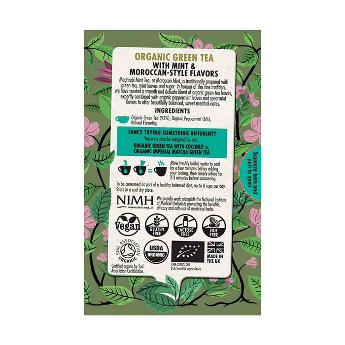 Heath & Heather Organic Green Tea with Moroccan Mint 20 Tea Bags, 1.4 oz (40 g)