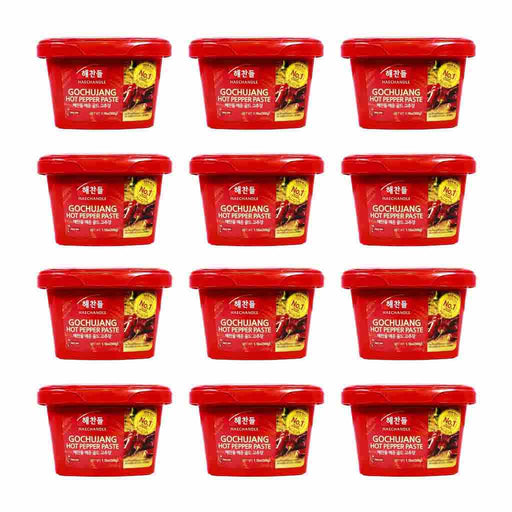 12-Pack Haechandle Gochujang Very Hot Chile Paste, Made in Korea (1.1 lbs x 12)