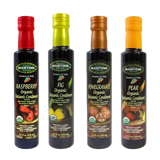 Mantova Organic Flavored Balsamic Vinegar Condiment, Pear, Raspberry, Fig and Pomegranate Vinegar 4-Pack Variety Set
