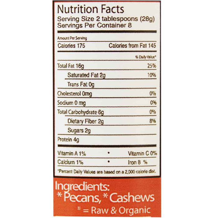 Wilderness Poets - Raw Pecan Butter with Cashews, 8 oz. (227 g)