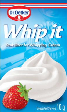 Canadian packaging of the Dr Oetker whip it whipped cream stabilizer