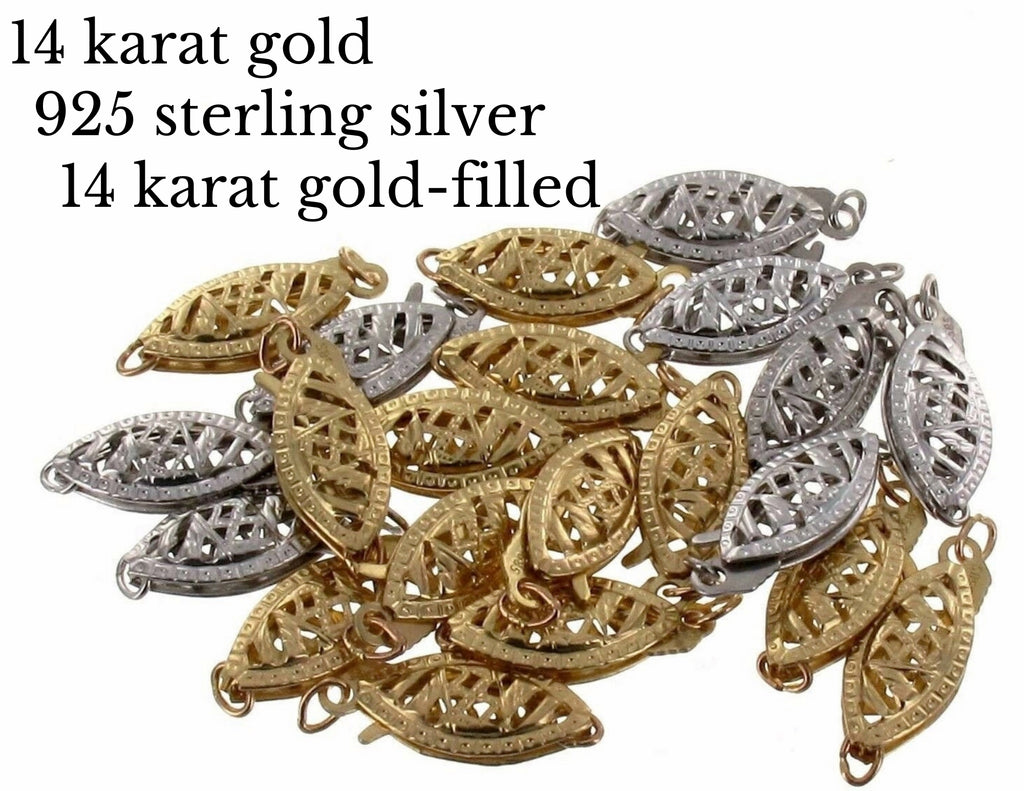 14 Karat Gold And 925 Sterling Silver Clasp for Handmade Gemstone Jewelry