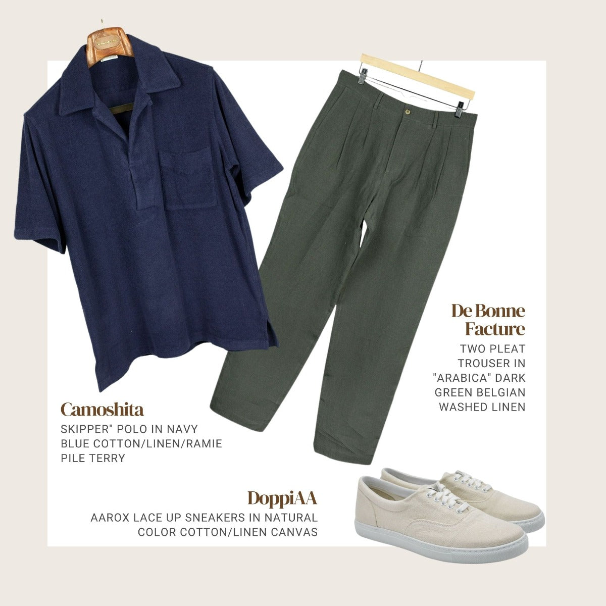 Terrycloth and linen outfit 1