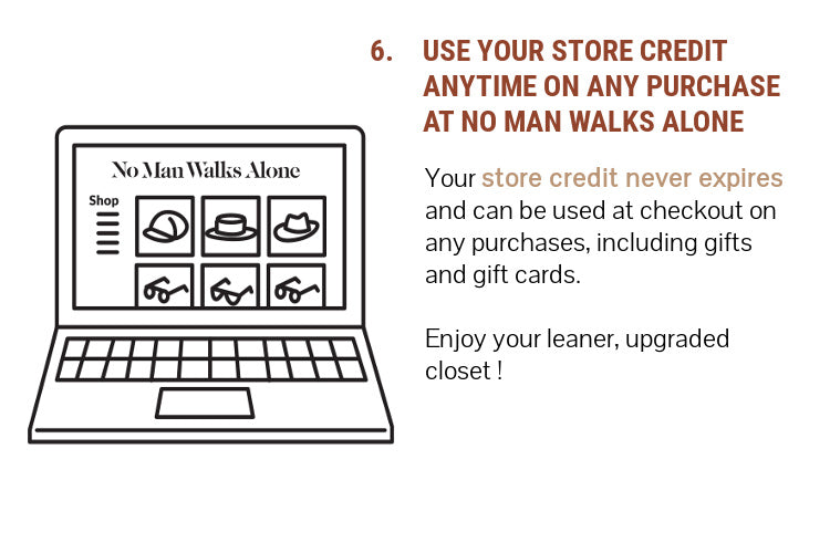 Step 6: Use your store credit anytime on any purchase at nomanwalksalone.com. It does not expire