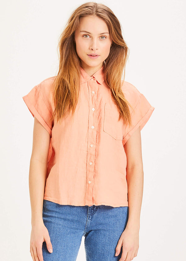 Knowledge Cotton Leinen Bluse apricot