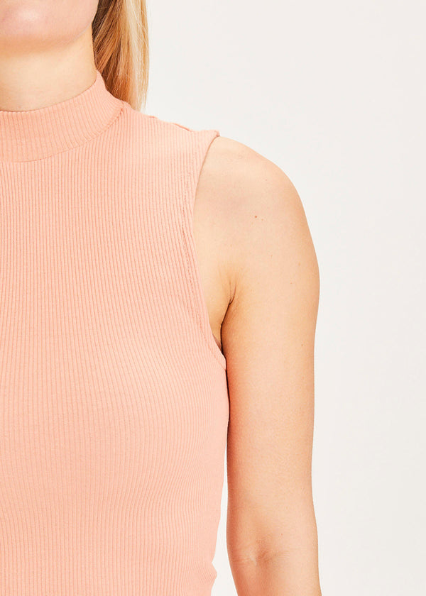 Knowledge Cotton High Neck Top apricot