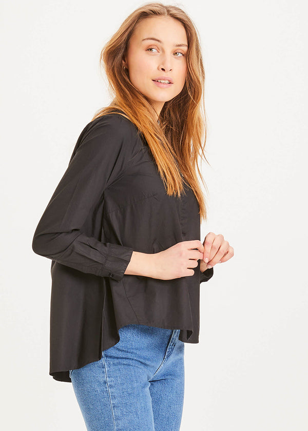 Knowledge Cotton A-Shape Bluse black