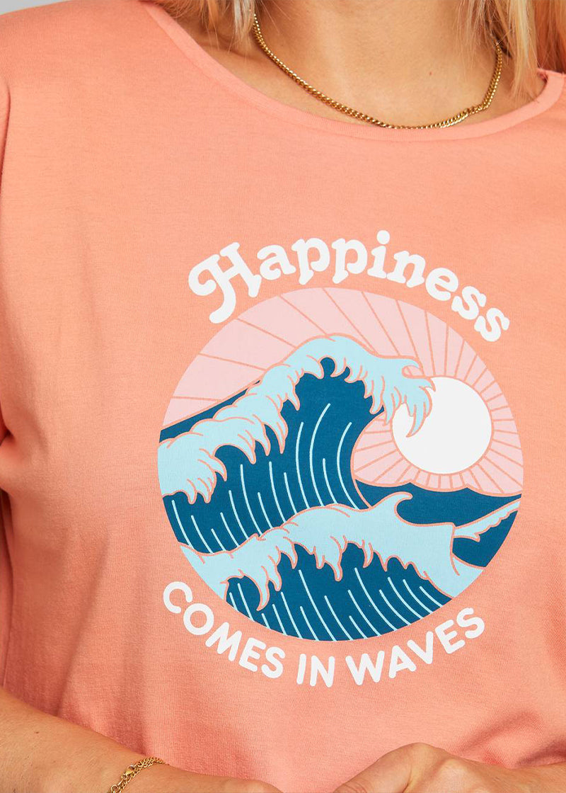 T-Shirt HAPPINESS in koralle von Dedicated