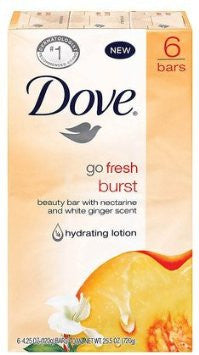Dove Beauty Bar Go Fresh Burst with Nectarine and White Ginger Scent, 6 Count - Fresh Colony