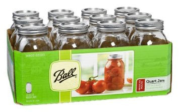 Ball Mason Jars Qt. ( 32 Oz ) Regular Mouth Bands And Dome Lids 12 / Box - Fresh Colony