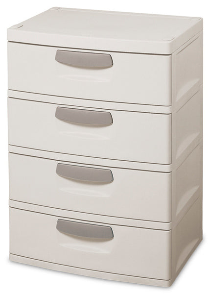 Sterilite 01748501 4-Drawer Unit with Putty Handles, Light Platinum - Fresh Colony