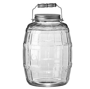 Anchor Hocking 2.5-Gallon Glass Barrel Jar with Brushed Aluminum Lid - Fresh Colony