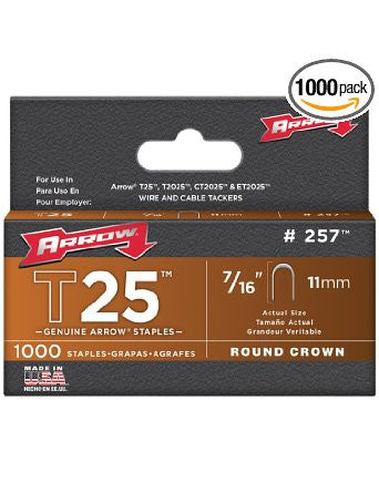 Arrow 257 Genuine T25/T2025 7/16-Inch Staples, 1,000-Pack - Fresh Colony