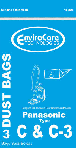 Panasonic Type C-3 vacuum cleaner bags #MC-125PT - Generic -3 pack - Fresh Colony