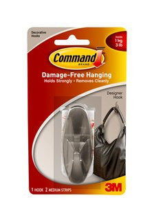 3M Command Medium Designer Brushed Nickel Hook, 1/pk - Fresh Colony